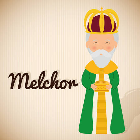 melchor: Christmas season cartoon graphic design, vector illustration. Illustration