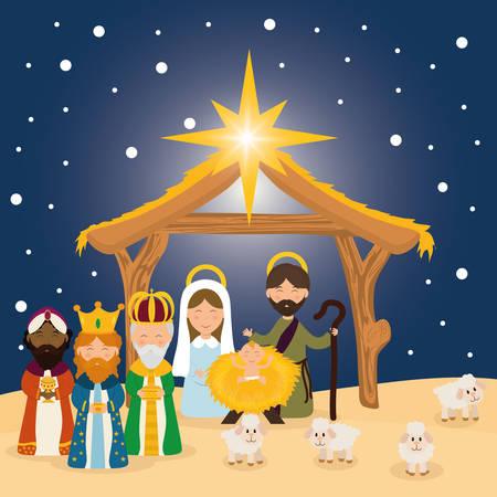 pesebre: Temporada de historieta de la Navidad de diseño gráfico, ilustración vectorial.