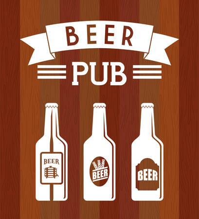 beer bottle: Pub beer and alcohol advert design, vector illustration