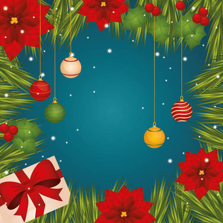christmas winter: Merry christmas colorful card graphic design, vector illustration.