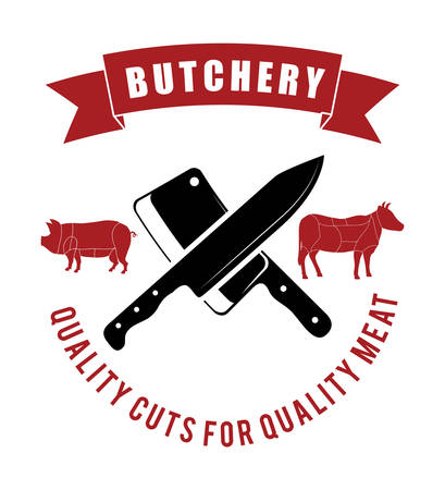 carniceria: Carnicería o tema de diseño carnicero, ilustración vectorial gráfico