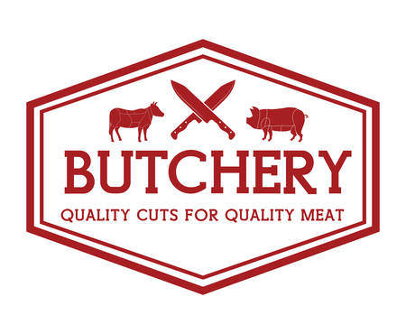carnicero: Carnicería o tema de diseño carnicero, ilustración vectorial gráfico