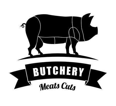 carnicería: Carnicería o tema de diseño carnicero, ilustración vectorial gráfico