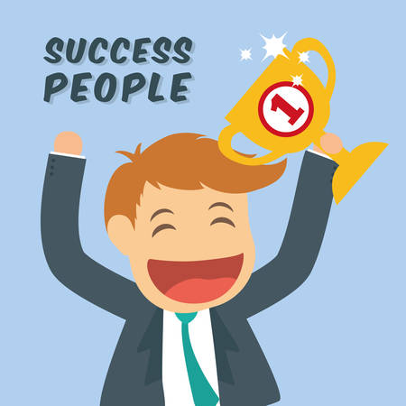 hapiness: Success people cartoon design, vector illustration graphic