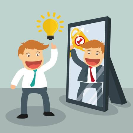 persona feliz: Las personas de éxito de diseño de dibujos animados, ilustración vectorial gráfico