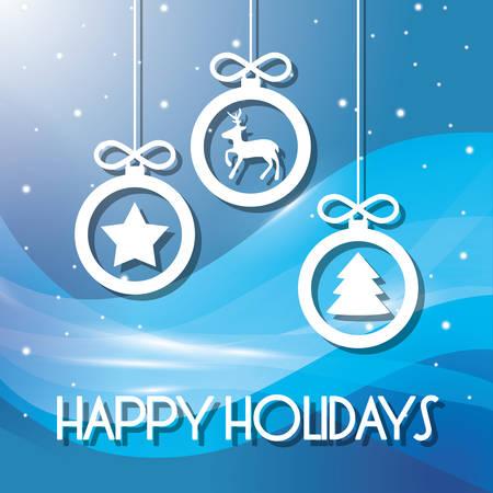 즐거운 휴일 및 메리 크리스마스 카드 디자인, 벡터 일러스트 레이 션입니다.