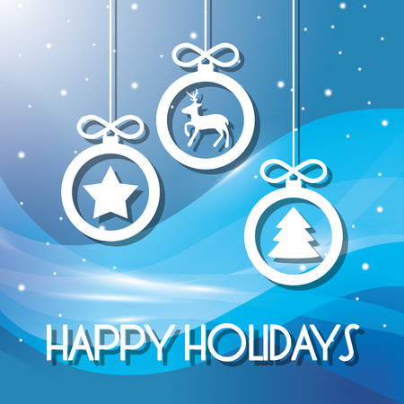 december holidays: Happy holidays and merry christmas card design, vector illustration.