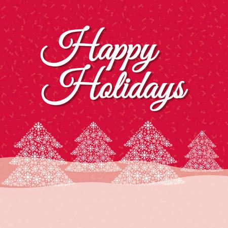 feriado: Felices fiestas y diseño de la tarjeta de Navidad feliz, ilustración vectorial.