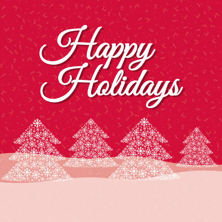 happy holidays text: Happy holidays and merry christmas card design, vector illustration.