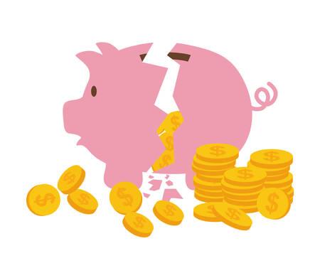 piggy bank money: Money saving and bank business graphic design, vector illustration.