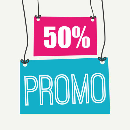 promotional offer: Shopping promo label tag graphic design, vector illustration.