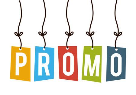 promo: Shopping promo label tag graphic design, vector illustration.