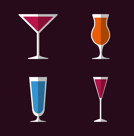 cocktail drinks: Cocktail glass cup and party club lifestyle, vector illustration graphic
