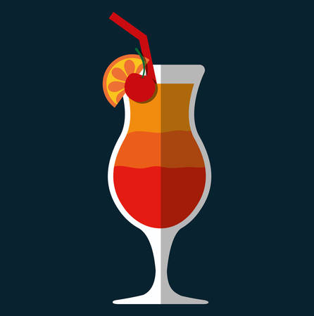 cocktail cold: Cocktail glass cup and party club lifestyle, vector illustration graphic