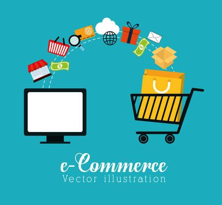 Shopping und E-Commerce-Grafikdesign mit Icons, Vektor-Illustration. Illustration