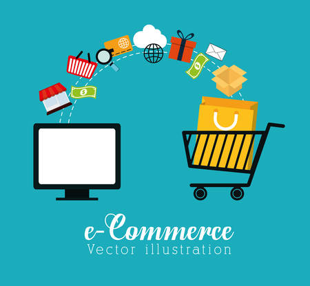 Shopping and ecommerce graphic design with icons, vector illustration. Stock Illustratie