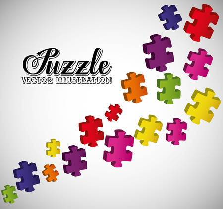 business puzzle: Puzzle pieces and big ideas design, vector illustration graphic