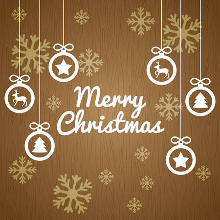 christmas postcard: Happy holidays and merry christmas card design, vector illustration.