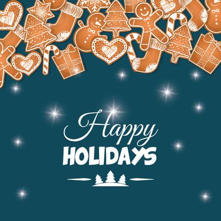 vacanza: Buone vacanze e Buon disegno cartolina di Natale, illustrazione vettoriale.