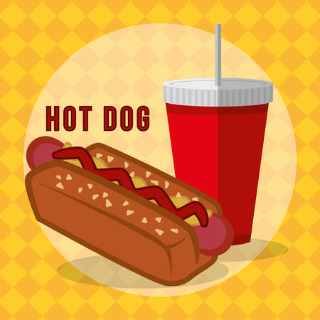 consume: Fast food concept with hot dog design, vector illustration 10 eps graphic Illustration