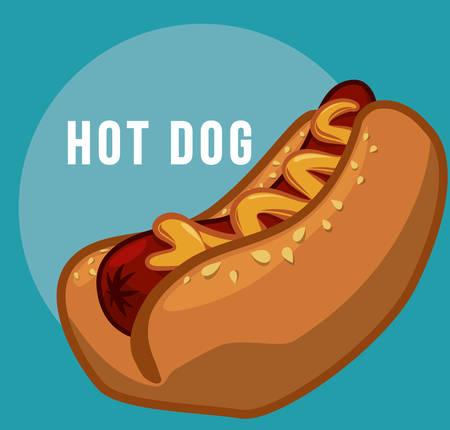 perro comiendo: Concepto de comida rápida con diseño de perro caliente, ilustración vectorial eps 10 gráfico