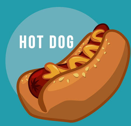 hot plate: Fast food concept with hot dog design, vector illustration 10 eps graphic Illustration