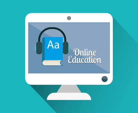 online book: Education concept with online icons design, vector illustration 10 eps graphic