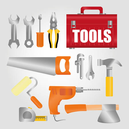 warning saw: Under construction concept with tools icons design, vector illustration 10 eps graphic