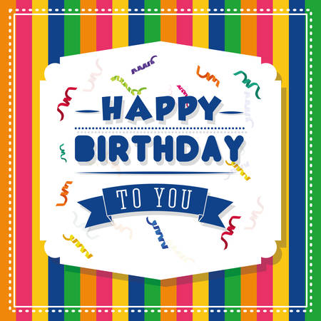 colorful stripes: Happy birthday colorful card design