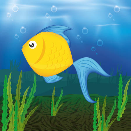 sea life: Sea life concept with fish design Illustration
