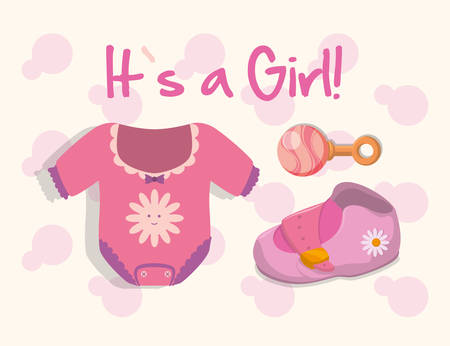 cute baby girls: Baby Shower concept with cute icons design Illustration