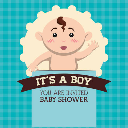 stamp design: Baby Shower concept with cute icons design Illustration