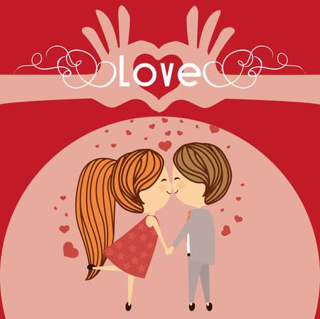 Concept van de liefde met leuke iconen ontwerp, vector illustratie 10 eps grafische.