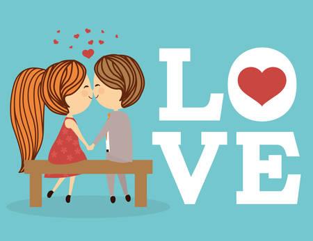 parejas enamoradas: Concepto del amor con el diseño de iconos lindo, ilustración vectorial eps 10 gráfico.