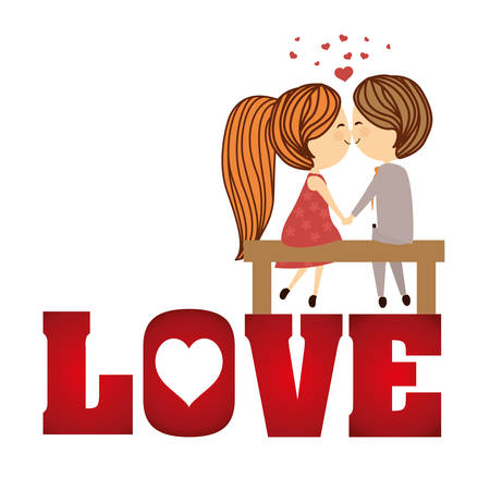 couple together: Love concept with cute icons design, vector illustration  graphic. Illustration