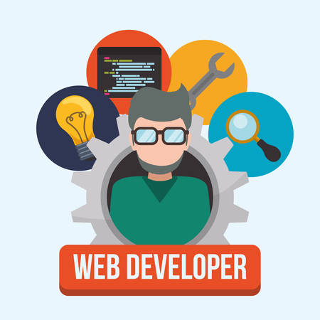 Web developer concept with technology icons design, vector illustration 10 eps graphic Illustration