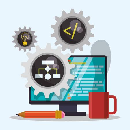 developer: Web developer concept with technology icons design, vector illustration 10 eps graphic Illustration