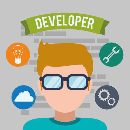 Web developer concept with technology icons design, vector illustration 10 eps graphic Illusztráció