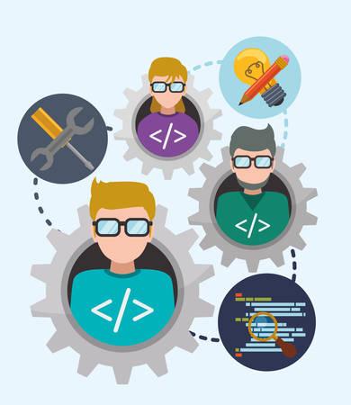 Web developer concept with technology icons design, vector illustration 10 eps graphic Illustration