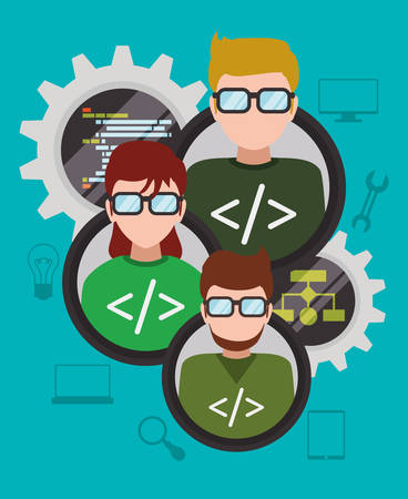 web developer: Web developer concept with technology icons design, vector illustration 10 eps graphic Illustration