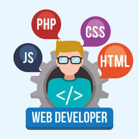 Web developer concept with technology icons design, vector illustration 10 eps graphic Çizim
