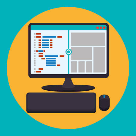 web site design: Web site concept with online icons design, vector illustration 10 eps graphic Illustration