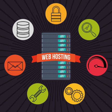 web service: Web concept with hosting icons design, vector illustration 10 eps graphic