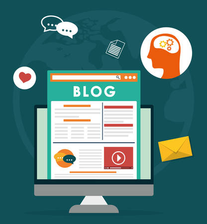 Blog, bloggen en blogglers thema ontwerp, vector illustratie grafische