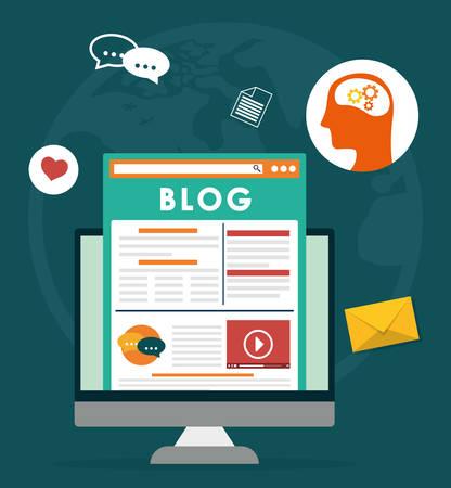 social network: Blog, blogging and blogglers theme design, vector illustration graphic Illustration