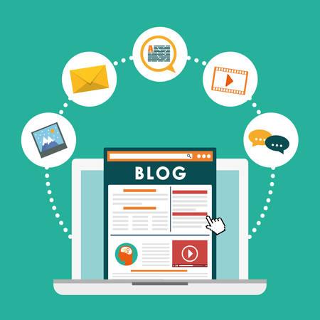 Blog, blogging and blogglers theme design, vector illustration graphic Illustration