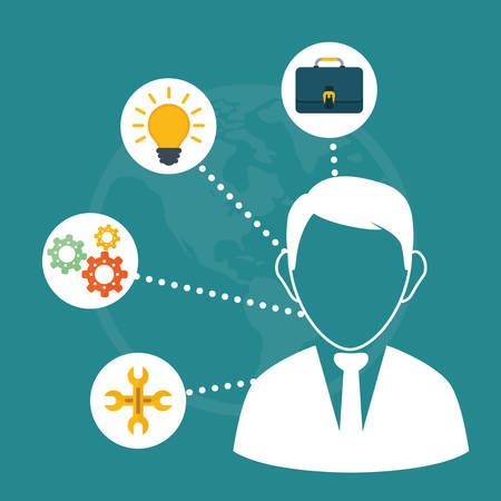 gestion empresarial: la gestión de negocio de diseño gráfico, ilustración vectorial eps01 Vectores
