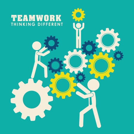 team working together: Business teamwork and leadership graphic design, vector illustration   Illustration