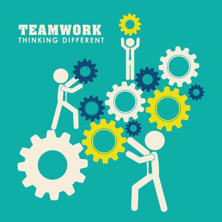 empleados trabajando: Trabajo en equipo y liderazgo de dise�o gr�fico, ilustraci�n vectorial