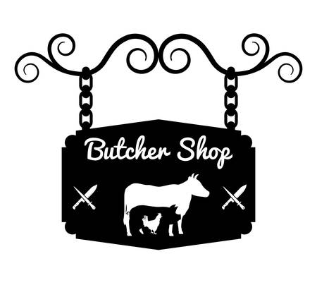 carne asada: Barbacoa y diseño del tema de la carnicería, ilustración vectorial diseño gráfico
